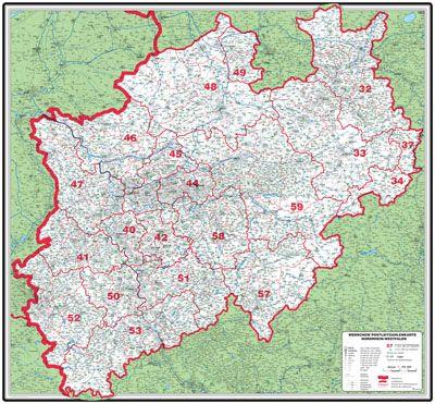 XXL Postleitzahlenkarte Nordrhein-Westfalen