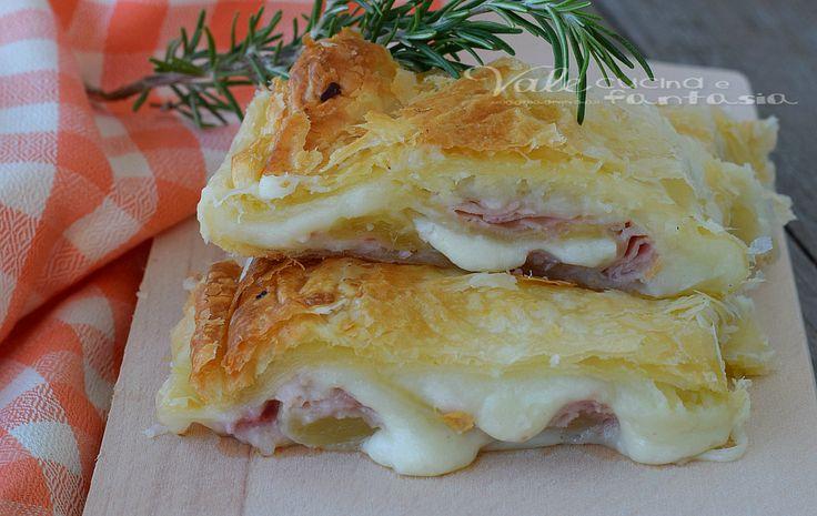 Tranci di sfoglia con prosciutto patate e mozzarella golosissimi, facile e velocissimi con pochi ingredienti gustosi, economici e pratici