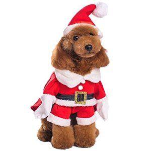 Bestie Vêtement Style Père de Noël Manteau avec Chapeau et Ceinture Costume des Chiens Déguisement Veste pour Chiot Mignonne Chien de…