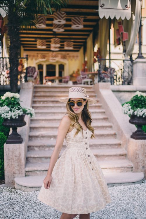 Gal Meets Glam Mornings on Lake Garda - Anthropologie dress, Preston & Olivia hat, and Illesteva sunglasses