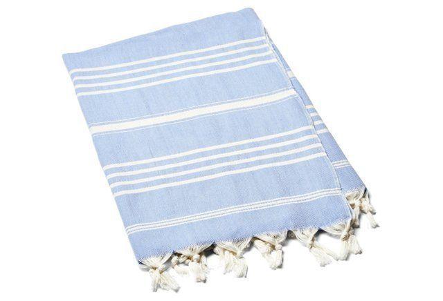 Natural Bath Towel, Lt Blue/Ivory