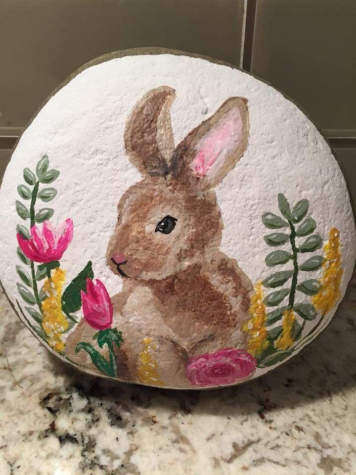Painted rock - Bunny rabbit