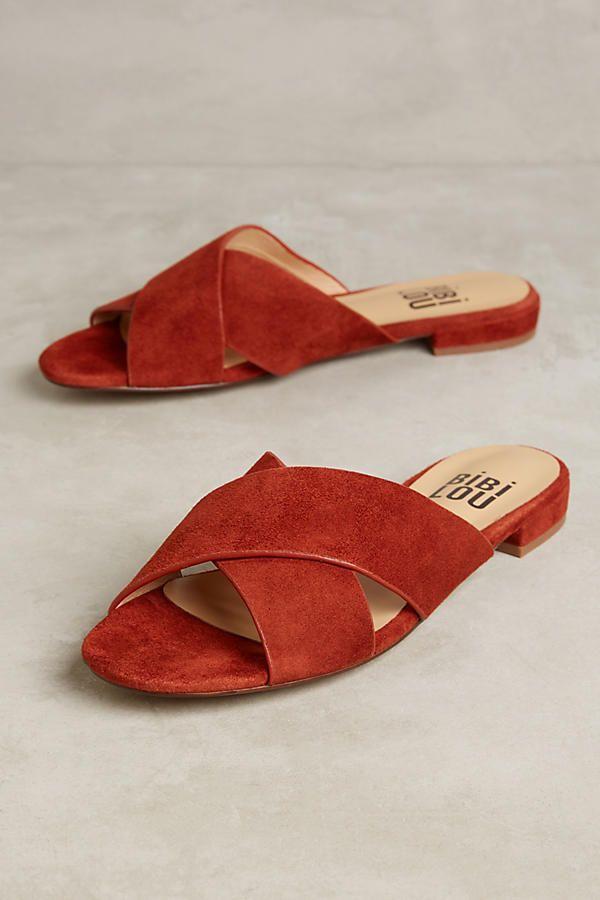 Slide View: 1: Bibi Lou Crossed Suede Slide Sandals