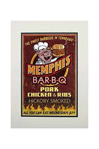Memphis, Tennesseee - Barbecue Vintage Sign (11x14 Double-Matted Art Print, Wall Decor Ready to Frame)