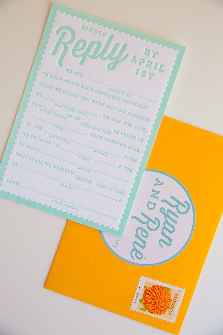 Ryan and Rene's colorful travel-and-dessert themed wedding invitations. Fun Mad Libs RSVP! Designed by The Goodness | thegoodness.com