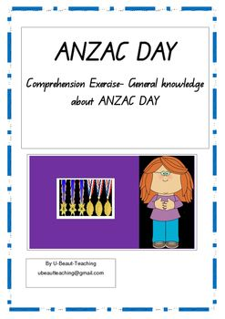 ANZAC DAY Comprehension exercise