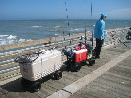 Join 2 carts together and increase your hauling capacity for Surf fishing gear