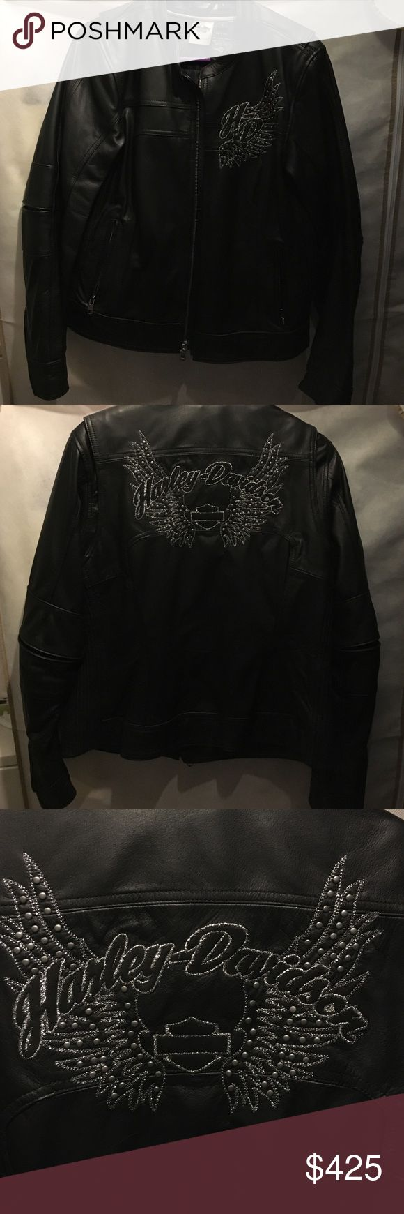 Authentic leather ladies Harley-Davidson jacket Only wore 1x for an hour. No flaws. Embroidery is in silver stitching. REASONABLE OFFERS ACCEPTED!! Harley-Davidson Jackets & Coats