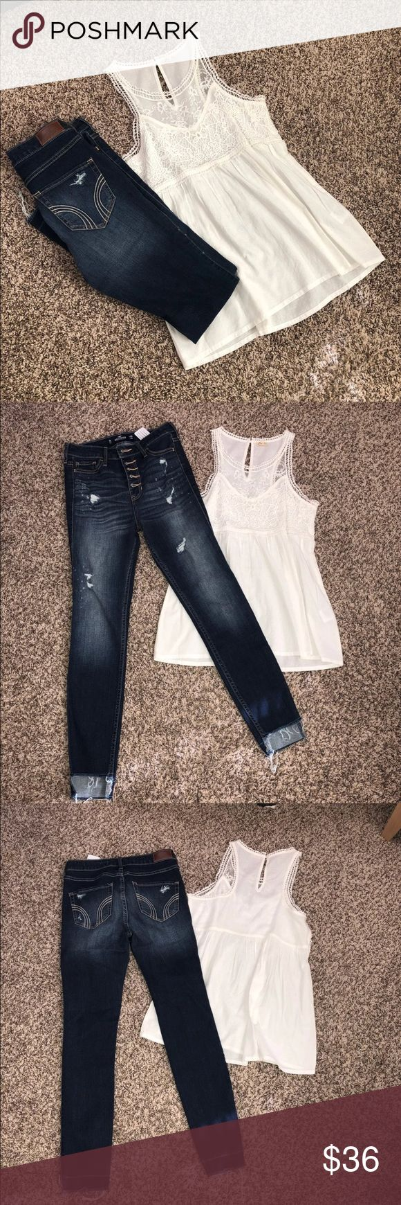 Hollister jean outfit Super cute!  Top sz XS- never worn but washed- tag did come loose on 1end High rise super skinny destructive crop jeans- never worn Hollister Jeans Ankle & Cropped
