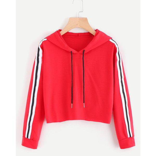 Contrast Striped Drawstring Hoodie ($4.99) ❤ liked on Polyvore featuring tops, hoodies, hooded pullover, drawstring hooded pullover, drawstring hoodie, sweatshirt hoodies and red top