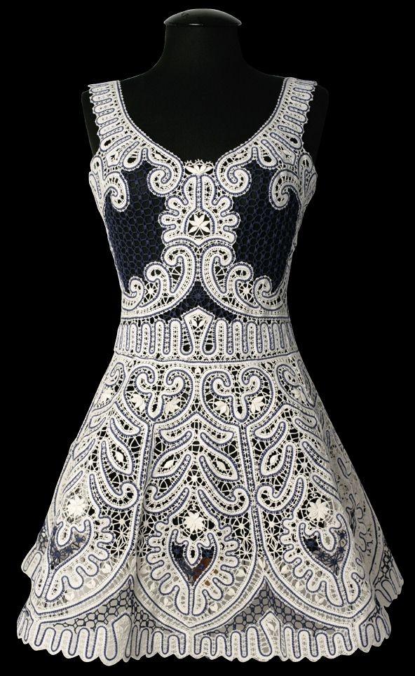 Russian bobbin lace dress. #Russia #lace