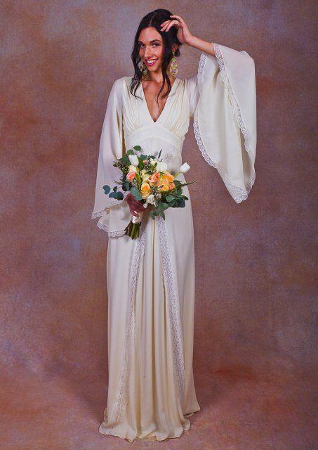 Celine Silk Bell Sleeve Dress