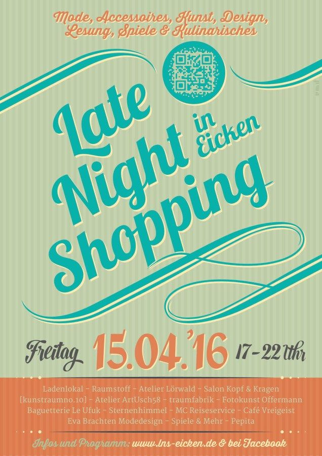 awesome Late Night Shopping in MG-Eicken[ad_1]   Mode, Accessoires, Kunst, Spiele, Kulinarisches, Lesung u.v.m.  Das Late Night Shoppin...
