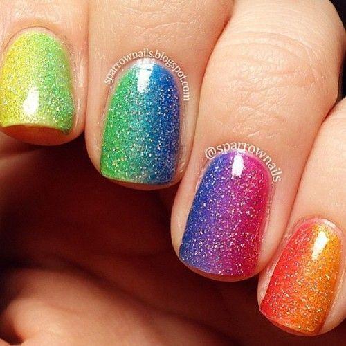 Multicolor rainbow gradient sponge technique with glitter free hand nail art – pride