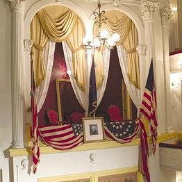 The Presidential Box at Ford's Theatre, where President Lincoln met his fate on April 14, 1865.