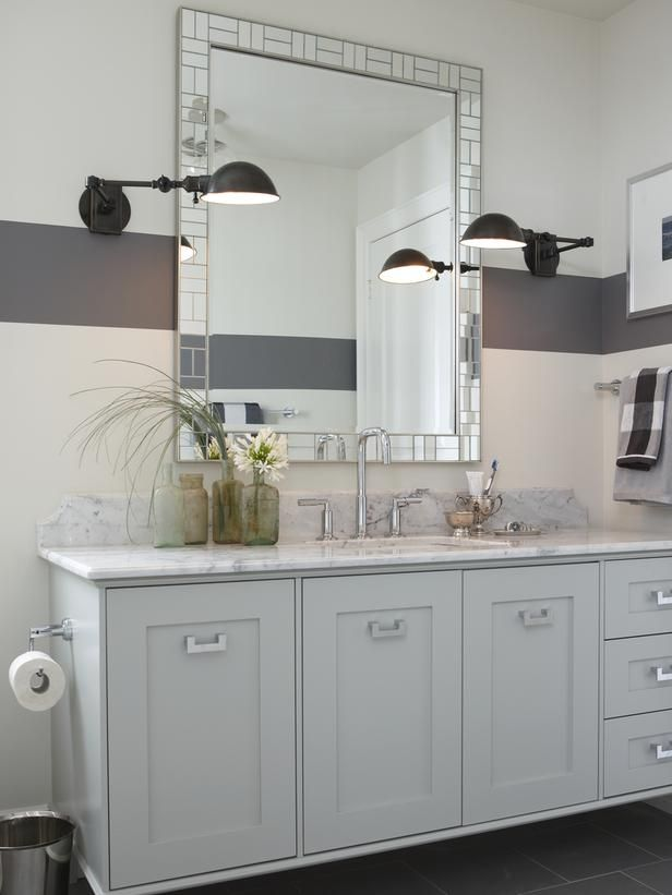 White Bathroom with Sconce Lights and Natural Stone Tile : Designers' Portfolio : HGTV - Home & Garden Television