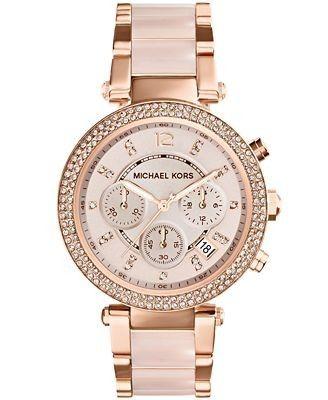MICHAEL KORS - Parker Women's Rose Gold-Tone Blush Acetate Watch MK5896