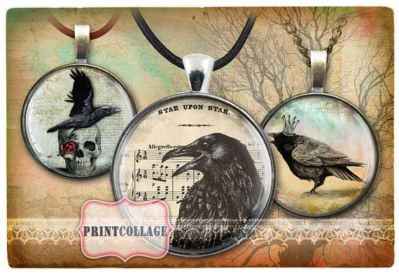 Ravens  Two Digital Printable Sheets 1inch and by PrintCollage