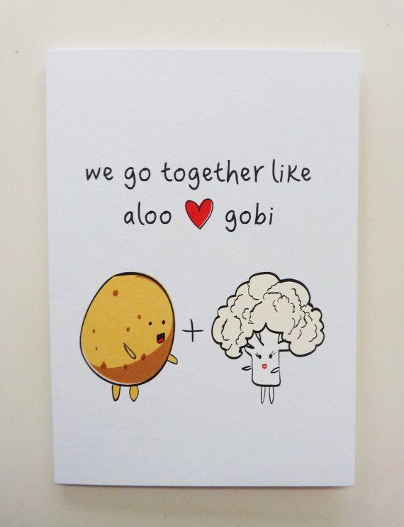Funny Indian Foodinspired Greetings Card  Aloo Gobi by WildClove