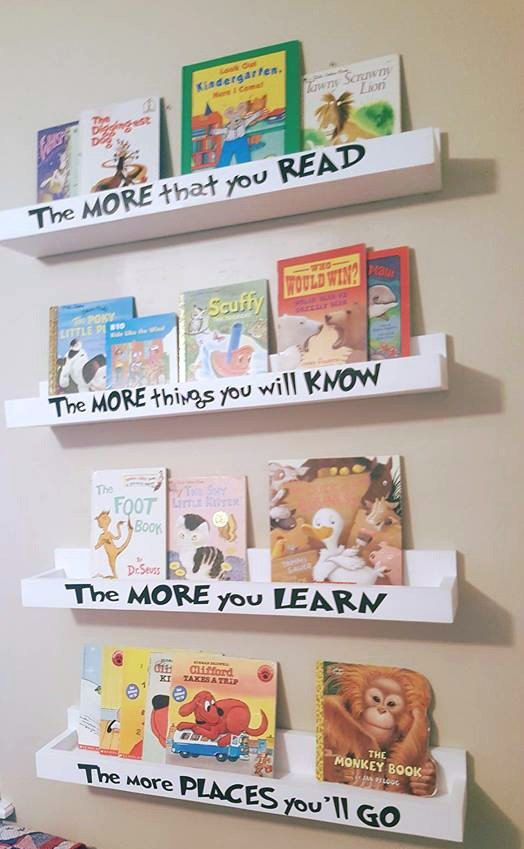 Dr Seuss inspired book ledges. Perfect way to display all your books and encourage children to read!  FEATURES: ‣ You will receive (4) book ledges. ‣ Each book ledge measures 30 long and has 3.5 depth. ‣ Two keyholes on back to mount to the wall. Very sturdy and secure. ‣ Lettering is done in a commercial grade vinyl. ‣ We have a few different color options available as seen in the drop down menu.  Please send me a convo if you have any questions. Thanks for looking
