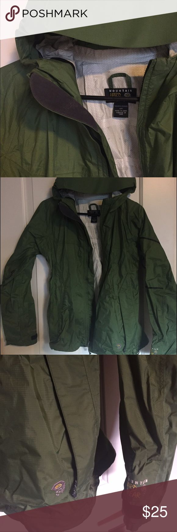 Mountain Hard Ware Rain Coat Women's, green, Mountain Hard Ware rain coat. Size small. Hardly ever worn. Excellent condition. Able to be folded up very tightly. Ventilation zippers under the arms, perfect for hiking or outdoor activity. Mountain Hard Wear Jackets & Coats Utility Jackets