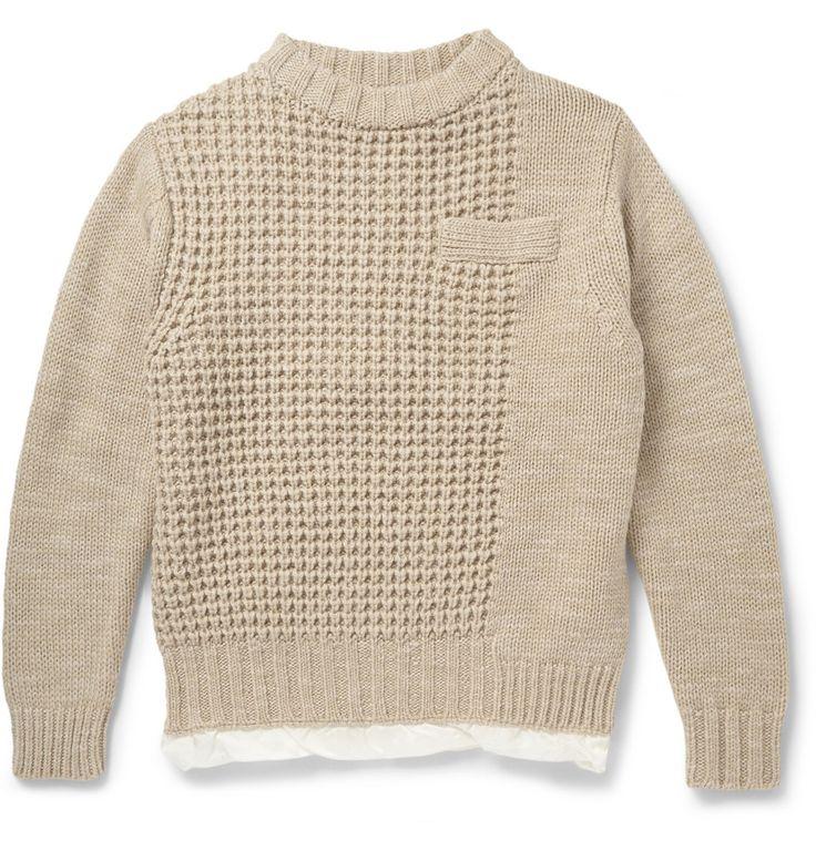 Sacai - Satin-Lined Chunky-Knit Wool Sweater   MR PORTER
