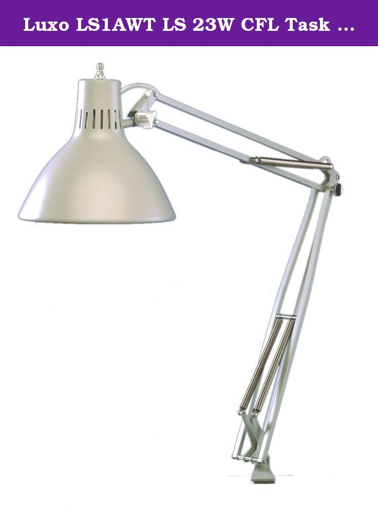 """Luxo LS1AWT LS 23W CFL Task Light, 45"""" Powder-Coated Arm with External Springs, Edge Clamp, White. LS is Luxo's most versatile and best-selling industrial task light. Utilizing an internal reflector which allows for a higher wattage lamp use with minimal heat, LS is well-suited for a variety of illumination applications. A 23W compact fluorescent light source is housed in a 6.75"""" diameter, heavy-duty spun aluminum shade and a 45"""" powder-coated arm with external springs provides the user…"""