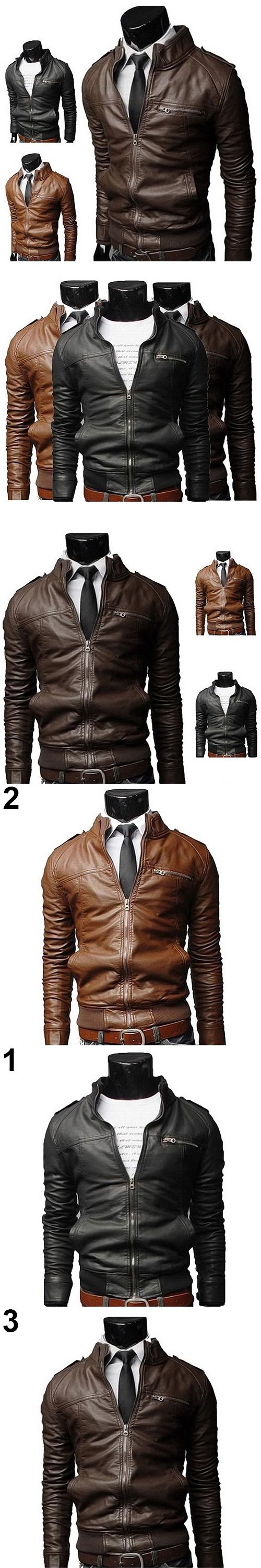 Men's Fashion Cool Stand Collar Slim Motorcycle Faux Leather Coat Outwear Jacket