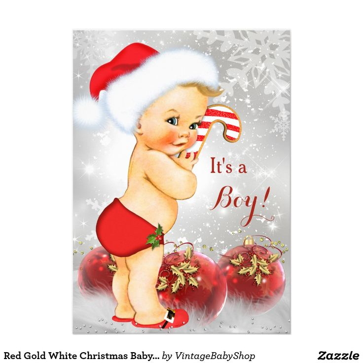 Red Gold White Christmas Baby Shower Boy Blonde 5x7 Paper Invitation Card