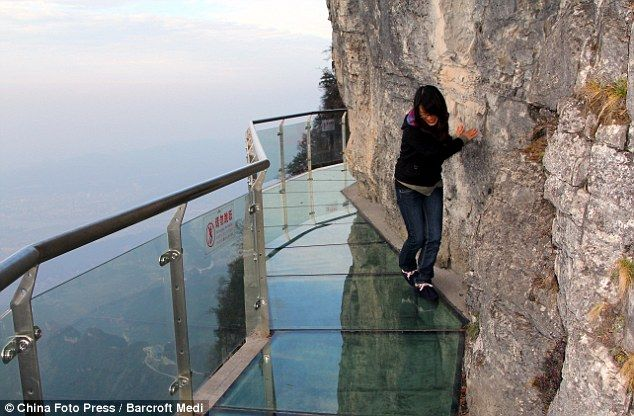 Glass walkway on Tianmen Mountain in Zhangjiajie, China