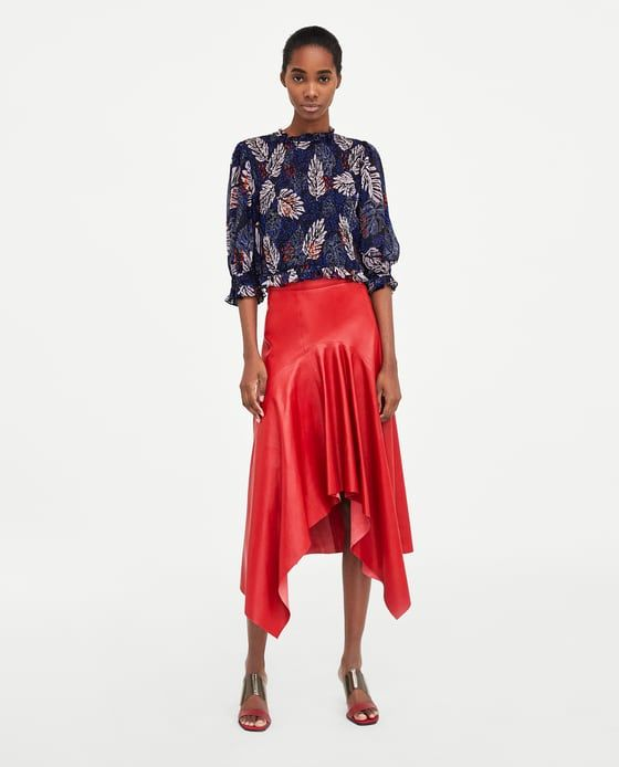 ZARA - WOMAN - ASYMMETRIC LEATHER SKIRT