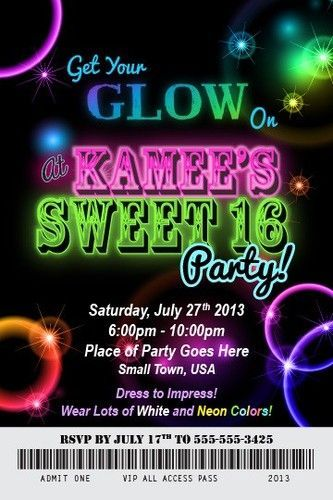 Glow, Neon and Invitation wording on Pinterest