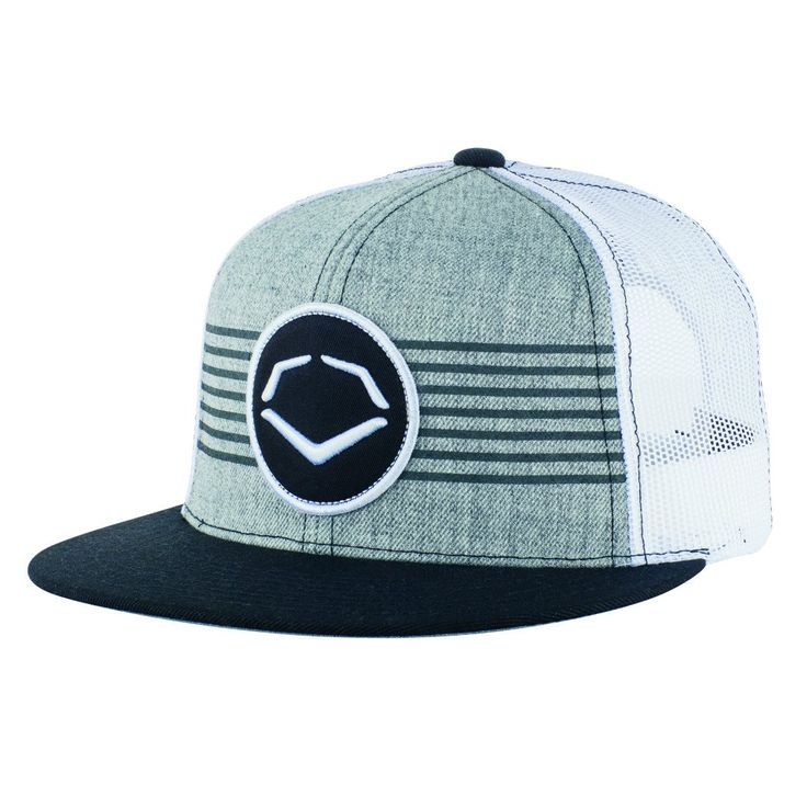 EvoShield Throwback Patch Snapback Hat, Grey/White