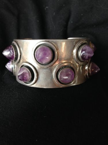 vintage Carmen Beckmann Taxco sterling cuff bracelet with amethyst studs