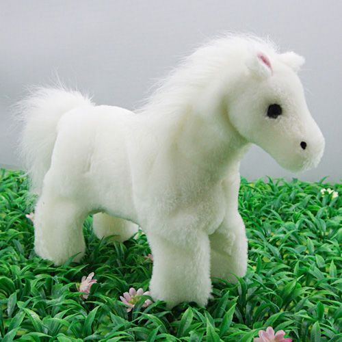White Stuffed Horse with Sound Plush Animals Toddler Toyat EVToys.com