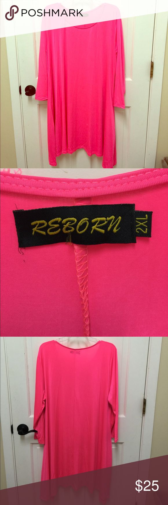 Tunic Top Swimsuit Material NEON PINK Neon Pink Tunic Top/Swim Top 3/4 sleeves shark bite hemline. 2 pockets at the sides NWOT Size 2xl reborn Tops Tunics