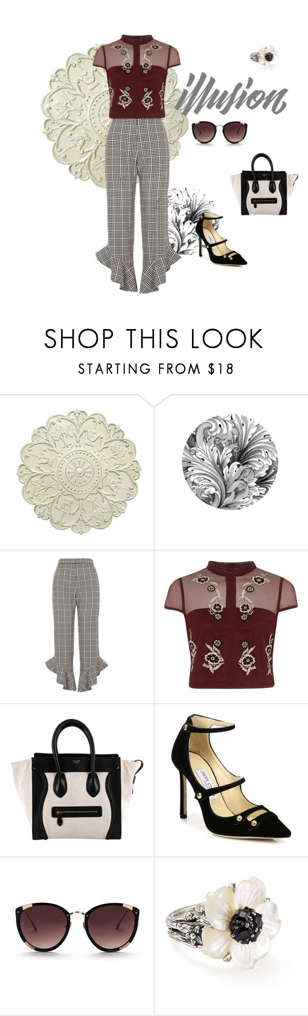 """""""Untitled #718"""" by aschwing ❤ liked on Polyvore featuring River Island, CÉLINE, Jimmy Choo and Stephen Dweck"""
