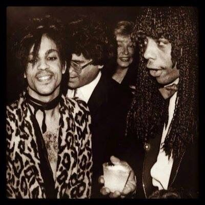 Prince with Rick James and Prince's Manager the late Steve Fargnoli in the background -1981