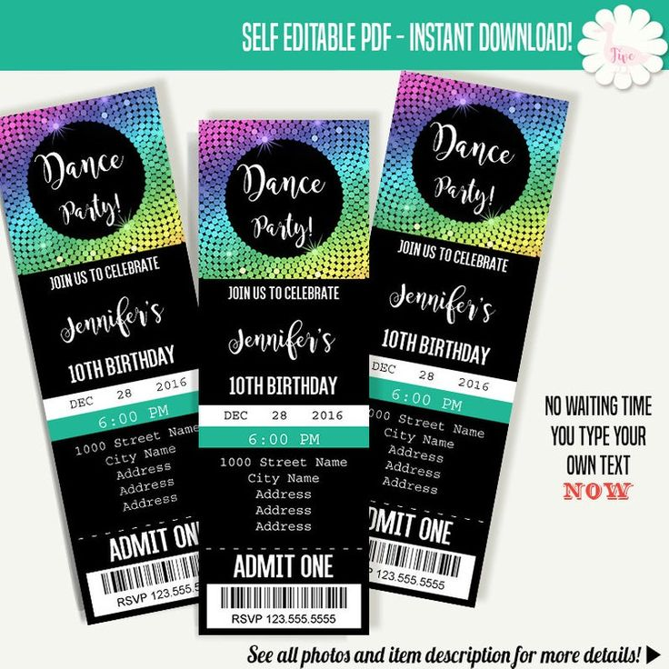 Dance party invitation dancing ticket template instant