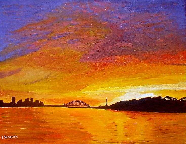 We have had some amazing sunset's in Sydney during late July.I painted my impression of one sunset over our Amazing Sydney Harbour....Acrylic on Canvas 46x36cm