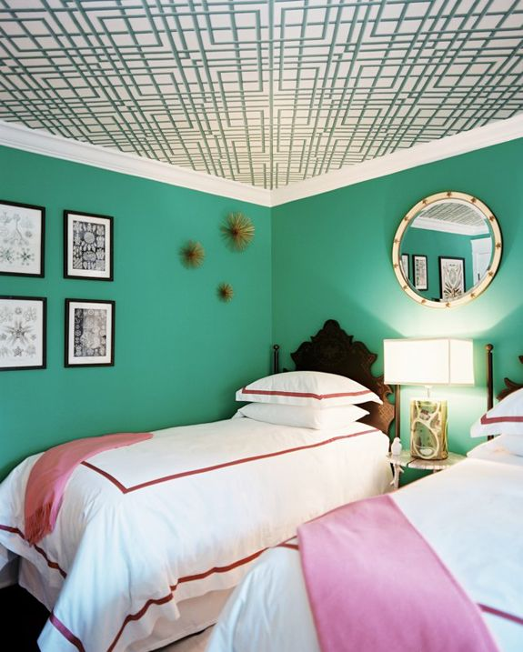 Inspiration Files Blue Green Interiors Interesting Ceiling Guest Room Home Sweet Pinterest Bedroom And