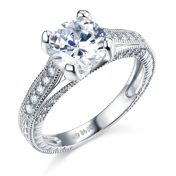 14k White Gold SOLID Wedding Engagement Ring *** Check out this great image  : Engagement Rings