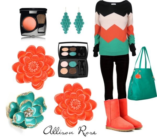 """""""Coral, Chevron, & Cyan."""" by allison-rose-wagner on Polyvore"""