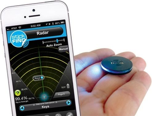 """The slim Stick'N'Find Bluetooth stickers can be attached to your key fob and then tracked down via the awesome Aliens-style """"radar"""" app."""