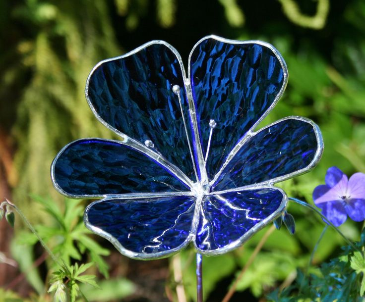 Stained Glass Royal Blue Flower Garden Ornament. $22.00, via Etsy.