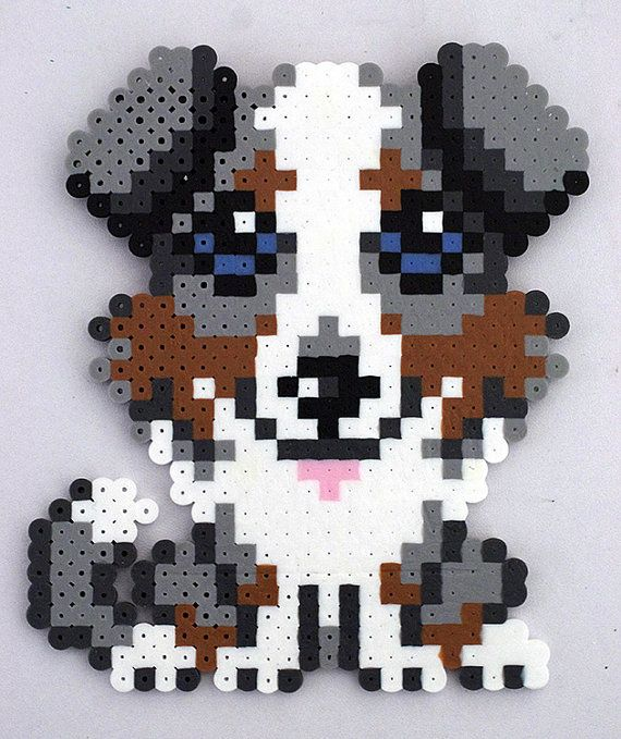 Perler Bead Dog Magnet by kittendrumstick