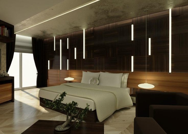 Modern wood panels bedroom design contemporary interior for Modern master bedroom ideas pinterest