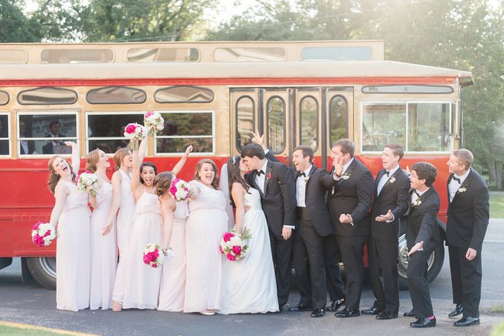 Cute wedding party photo idea with their trolley (Eric & Jamie Photography)