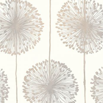 Muriva Dandelion Floral Wallpaper Cream / Grey / Gold - Muriva from I love wallpaper UK
