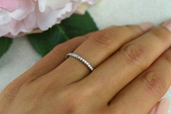 Small, Half Eternity Ring, 1.5mm Wedding Ring, Engagement Ring, Man Made Diamond Simulants, Bridal Ring, Round Wedding Band, Sterling Silver Size 7.5 - 8